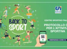 """Protocollo CSI """"Back to Sport"""" (aggiornato 8 settembre '21)"""